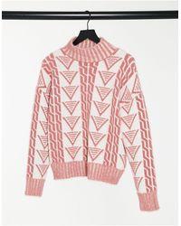 Fashion Union Свободный Джемпер С Узором «треугольники» -белый - Красный