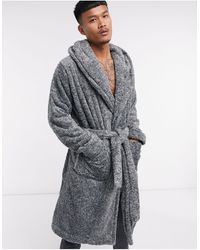 ASOS Lounge Hooded Dressing Gown - Black