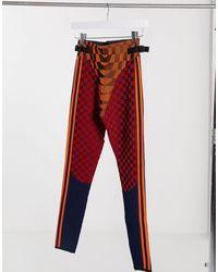 adidas Originals X Paolina Russo – Feinstrick-Leggings mit Logo und Farbblock-Design - Orange