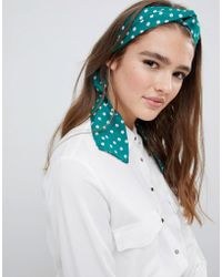 ASOS Twist Block Headscarf In Green And Pink Spot