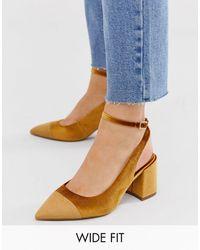 ASOS Zapatos de tacón medio y puntera en punta de terciopelo ocre - Multicolor