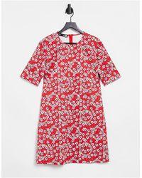 Love Moschino Платье-футболка С Принтом -многоцветный - Красный