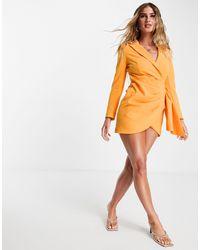 Lavish Alice Wrap Blazer Dress - Orange