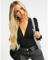 Missguided Plunge Bodysuit With Covered Buttons - Black