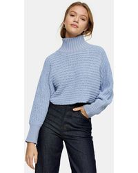 TOPSHOP Funnel Neck Chenille Crop Sweater - Blue