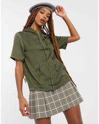 Vila Short Sleeve Zip Knit Jumper - Green