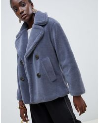 Warehouse Синее Двубортное Пальто Из Плюша -коричневый - Синий