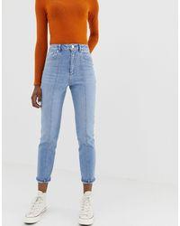 ASOS High Rise Farleigh 'slim' Mom Jeans - Blue