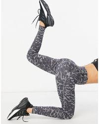 adidas Originals Adidas Training - Leggings grigi con stampa mimetica - Grigio