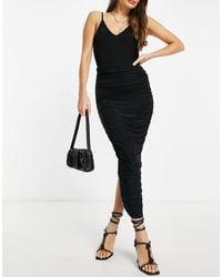 Club L London Ruched Detail Bodycon Maxi Skirt - Black
