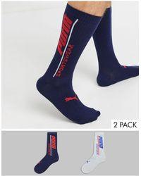 PUMA Set Van 2 Paar Sokken Met Tekstlogo - Blauw