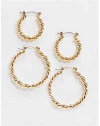Accessorize Exclusive Twisted Hoop Multipack - Metallic