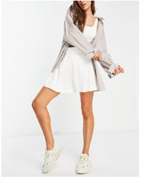 Collusion Wrap Pleated Mini Skirt With Velcro Tab - White