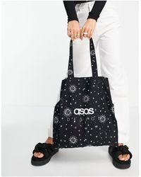 ASOS - Сумка Тоут Из Органического Хлопка С Космическим Принтом И Логотипом - Lyst