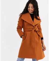 Miss Selfridge Funnel Neck Tailored Coat - Brown