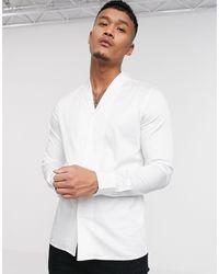 ASOS Premium Slim Fit Sateen Shirt With Shawl Collar - White