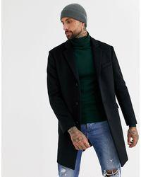 TOPMAN Overcoat - Black