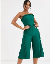 True Decadence Culotte Bandeau Jumpsuit With Ruffle Trim - Green
