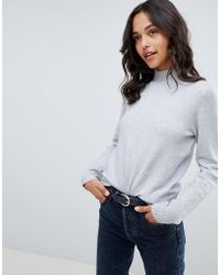 Vila High Neck Knitted Sweater - Gray