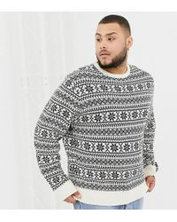 Another Influence Tall Fairisle Knit Sweater - Blue