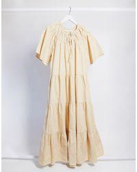 TOPSHOP Poplin Smock Midi Dress - Natural