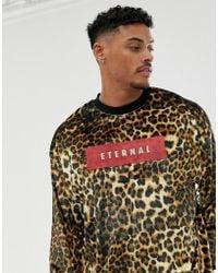 ASOS - Oversized Velour Sweatshirt In Leopard Print With Slogan Text Print - Lyst