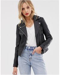 Barneys Originals Barney's Originals Clara Real Leather Biker Jacket - Black