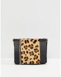 ASOS - Leather Boxy Leopard Panel Cross Body Bag - Lyst