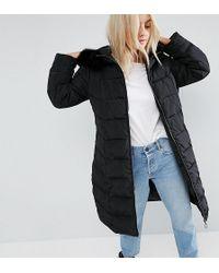 ASOS - Longline Puffer Coat With Faux Fur Trim Hood - Lyst