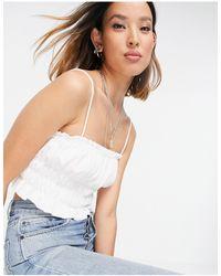 Bershka Textured Ruched Detail Cami Top - White