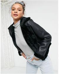 Miss Selfridge Faux Leather Aviator Jacket - Black
