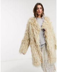 Free People Florence Fur Coat - Natural