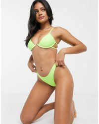 Missguided High Leg Bikini Bottoms - Green