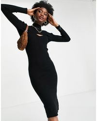 New Look Cut Out Knitted Dress - Black