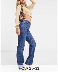 ASOS Hourglass Organic Cotton Blend Mid Rise '90's' Straight Leg Jeans - Blue