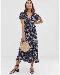 Band Of Gypsies Floral Print Wrap Maxi Dress - Blue