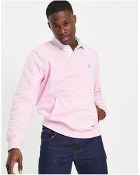 Polo Ralph Lauren Sudadera rosa estilo rugby con bolsillo y logo
