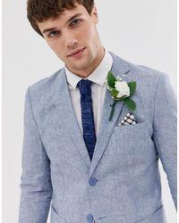 Jack & Jones Пиджак Классического Кроя Из Ткани С Добавлением Льна Premium-синий