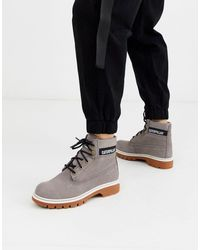 Caterpillar Cat Corduroy Suede Lace Up Boots - Grey