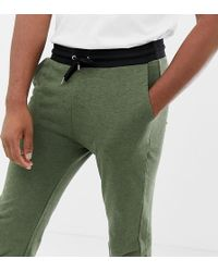 ASOS - Tall Skinny joggers In Khaki Interest Fabric With Contrast Waistband And Cuffs - Lyst