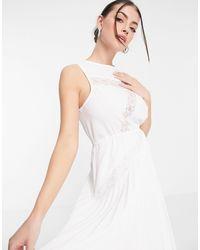 ASOS Vestito midi a pieghe con inserto - Bianco