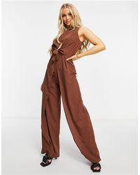 AX Paris Комбинезон Шоколадного Цвета С Высоким Воротом -коричневый Цвет