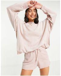 Free People Kelly - Set Met Sweater En Shorts - Roze