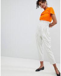 Monki - High Waist Stripe Trousers - Lyst