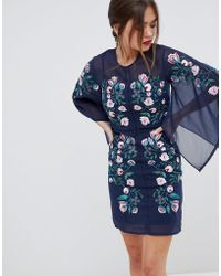Frock and Frill - Frock & Frill Kimono Sleeve Shift Dress With Embroidered Detail - Lyst