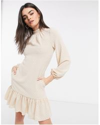 Closet High Neck Volume Sleeve Mini Dress With Frill Hem - Natural