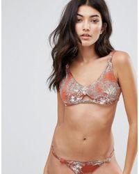 Somedays Lovin Knot Cut Out Printed Bikini Top - Orange