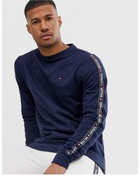 Tommy Hilfiger Sweat-shirt authentique confort avec bandes latérales à logo - Bleu marine chiné