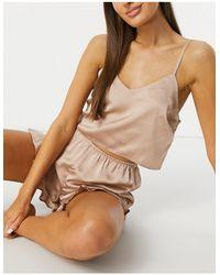 Missguided Серо-коричневая Атласная Пижама С Топом На Бретельках И Шортами С Оборками -коричневый Цвет - Многоцветный