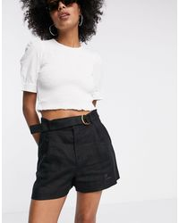 & Other Stories Belted Linen Pleat Shorts - Black